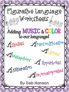 Seven figurative language worksheets!  Students underline examples of each type of figurative language within sentences and passages. They also write their own sentences.  Similes, metaphors, onomatopoeaias personification, alliteration, hyperboles, and idioms!
