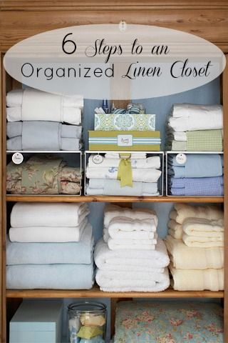 6 Steps To An Organized Linen Closet | Tipsaholic.com #home #organization #