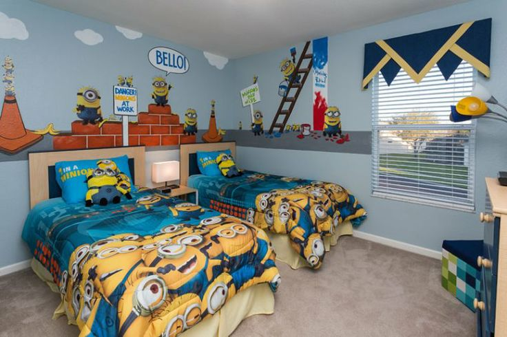 Kids will love joining in silly minion mayhem in this twin bedroom in 2601 Dinville St in Windsor Hills