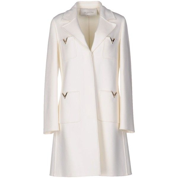 Valentino Coat found on Polyvore featuring outerwear, coats, white, wool coat, woolen coat, valentino coat, white woolen coat and single-breasted trench coats