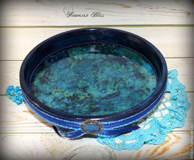 """Купить Поднос """"Cassiopeia"""" - тёмно-синий, шкатулка для украшений, украшение для интерьера, поднос, поднос декупаж"""