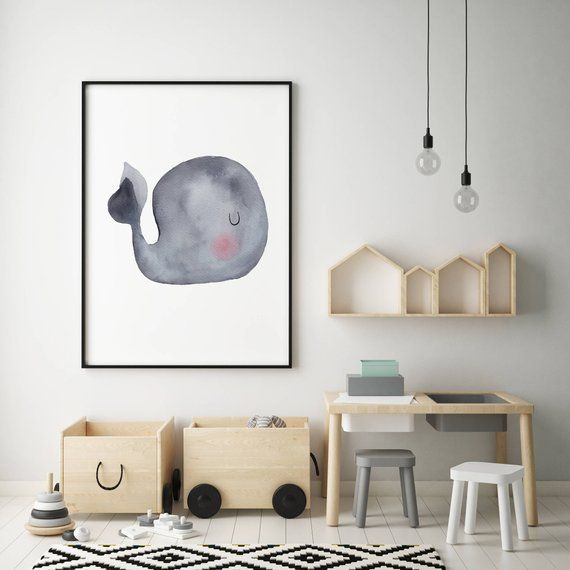 Gray Baby Whale Nursery Art Print 09, Ocean Art Print, Watercolour Whale Print, Grey Whale Print, Watercolour Whale Art, Baby Animal Art