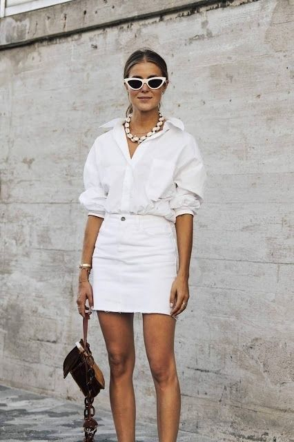 f63d0fe8c white denim skirt and white button down shirt #streetstyle #fashion  #outfits #outfitideas