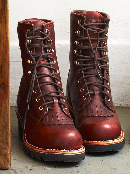 Chippewa 8-Inch Redwood Logger ($175) Logger boots are not purposelessly flamboyant. The high heel helps prevent slipping when walking down a hill or over logs, and the replaceable kiltie prevents dirty, wet laces from cutting into the shoe.