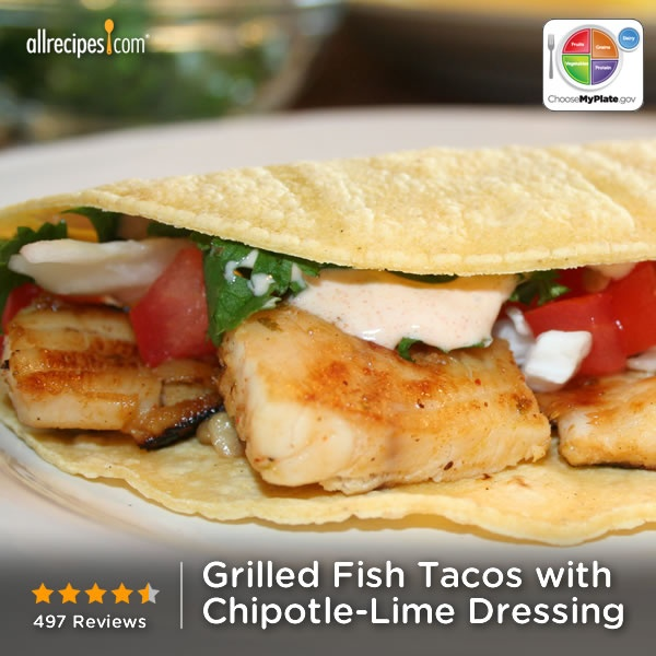 Grilled Fish Tacos with Chipotle-Lime Dressing from Allrecipes.com # ...