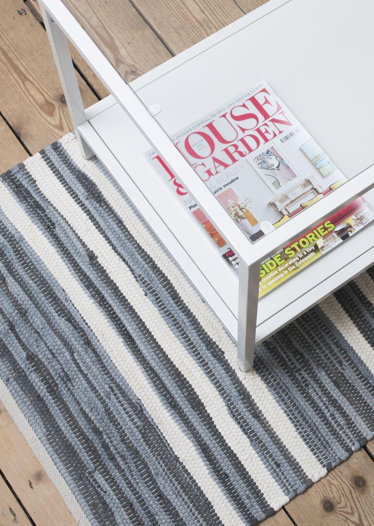 Striped white and grey washable cotton rag rug from the Saga range at Skandihome. Interior inspiration for aspiring Scandinavian homes.