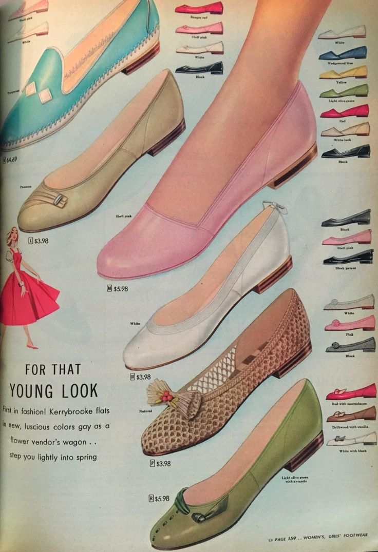 1950s flat shoes- 1956. So cute!