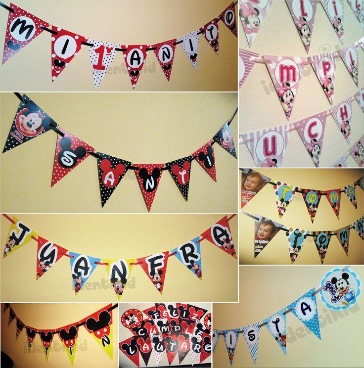IDENTIKID - Banderín Mickey y Minnie personalizados . Varios formatos - listos para colgar.- www.facebook.com/identikid