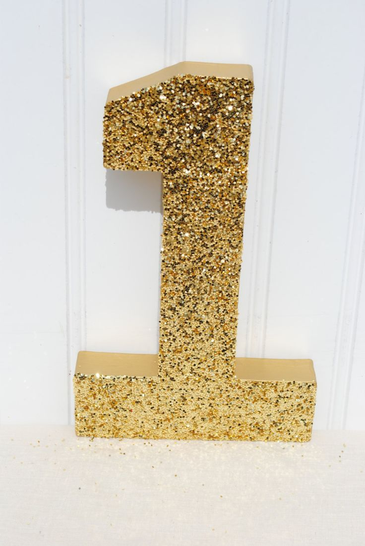 Gold glitter stand up decorative birthday party numbers for Glitter numbers for centerpieces