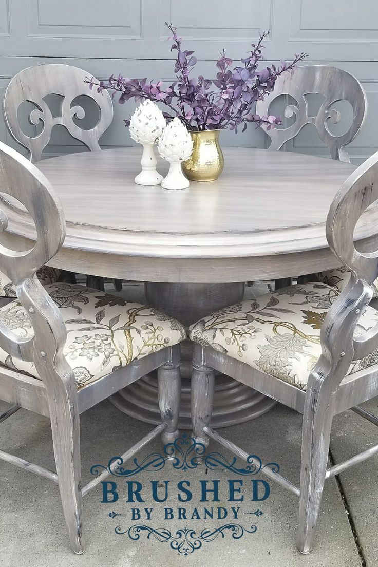Weathered Wood Dining Set In 2020 Dining Room Table Makeover Dining Table Makeover Painted Dining Table