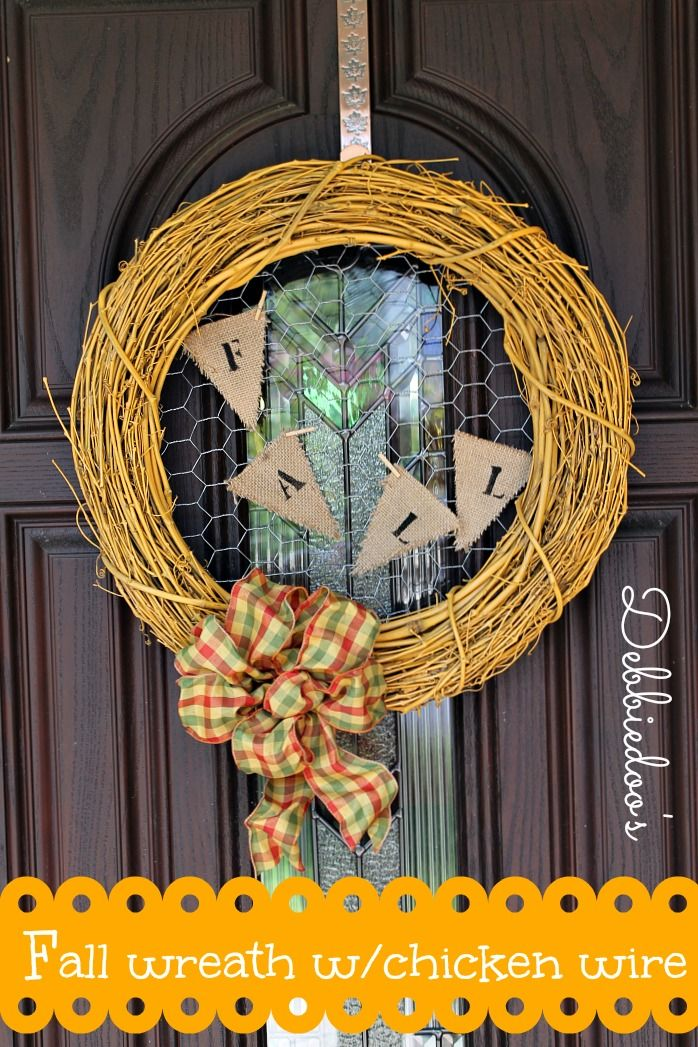 Fall wreath with chicken wire and spray painted grapevine