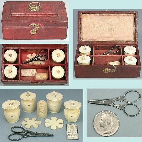 Antique English Child's Leather Sewing Workbox w/Tools; Circa 1810