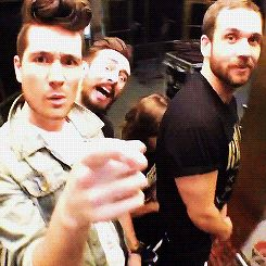 Bastille on the today show. Will looking all innocent, Dan being that weird child, Woody being the extremely hyper child, and Kyle being a cat.