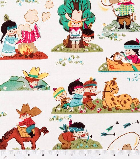 Retro Cowboy and Indian Kids Fabric BTY. $10.00, via Etsy.  Realllly want to use this when they get old enough for me to make them a tent!