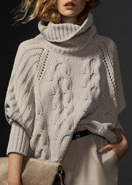 Simple Style Solid Color Turtleneck Knitted Pullover Sweater ==