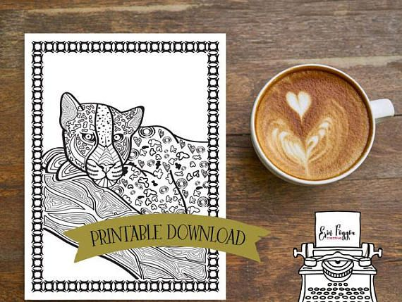 Coloring Page - African Leopard with Symbolism // INSTANT DOWNLOAD // Manifestation and Meditation Colouring Page