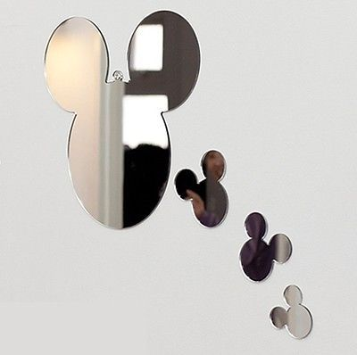 NEW-1SET-4pcs-Mickey-Mouse-Wall-Mirror-Home-Art-Decor-Interior-Design