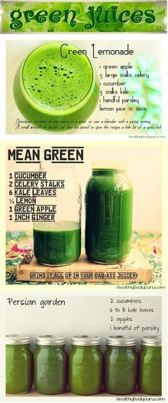 Green juice is so good for your health.  Add collard greens, turnip greens, kale and  spinach, apple, celery, cucumber, ginger, etc. Also best to use low RPM juicer, all stainless steel if possible.  Best home juicer I have found is a Norwalk Juicer.  Sort of a pain to use, but best quality juice by far.  :)