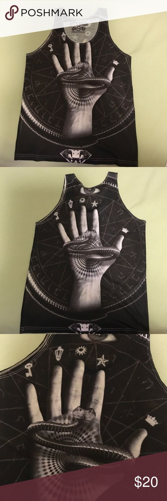 Black and white snake tank Let's Rage tank top. Size S. Never worn, Let's Rage Clothing Tops Tank Tops