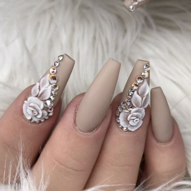 ♡ Toffee colored acrylic nails with white acrylic flowers and rhinestones ♡