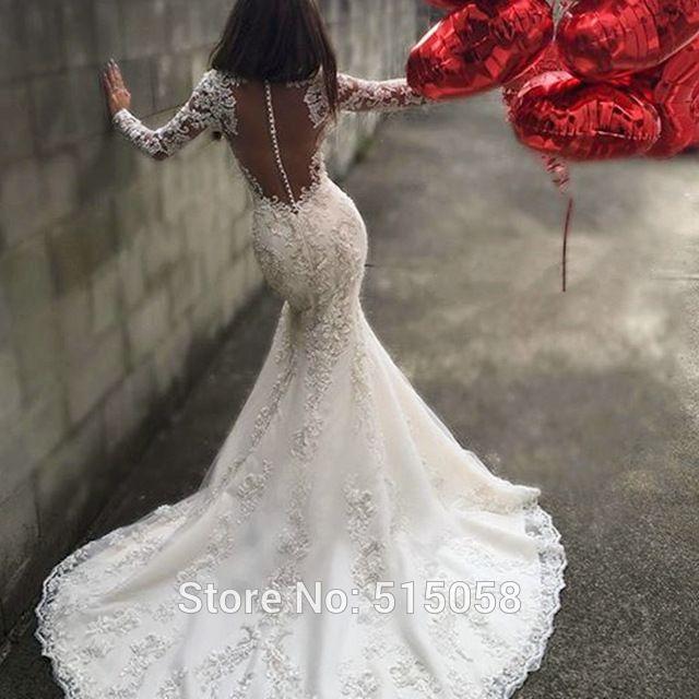 Sexy Traseira Aberta Mangas Compridas Sereia Vestidos de Casamento Do Laço Apliques 2016 Luxo Cristal Frisado Vestidos de Noiva