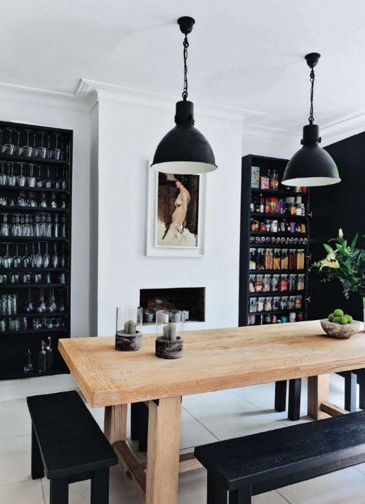 Black And White Paint For A Chic Dining Room  Gotta Do This For Storing All  Our Glasses. Loving The Black. Part 93