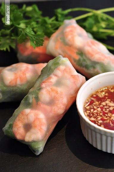 VIETNAMESE SUMMER ROLLS  (rice paper rolls):  -          rice paper  -          julienned carrot  -          coriander leaves  -          shredded lettuce  -          julienned cucumber  -          cooked shrimps (split in half)  -          handful of cooked rice noodles