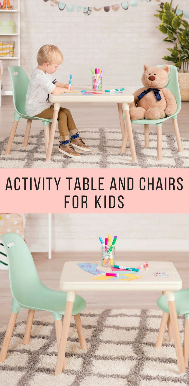 Two comfy kid-sized seats in mint and a perfectly coordinated ivory table ready for crafts and creations. kids table, chairs, playroom, kids room, decor, modern, midcentury modern, b.spaces |affiliate| #kidsroomsdecormodern