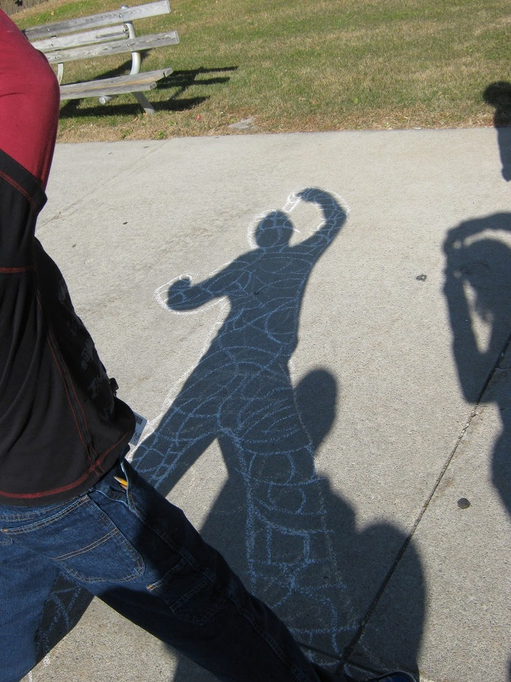 Moms & Teachers!!  Outline your kids hand them the chalk.. looks like so much fun!!    keith haring inspired shadow chalk drawing | Art in the Middle...school: Guys on the Ground