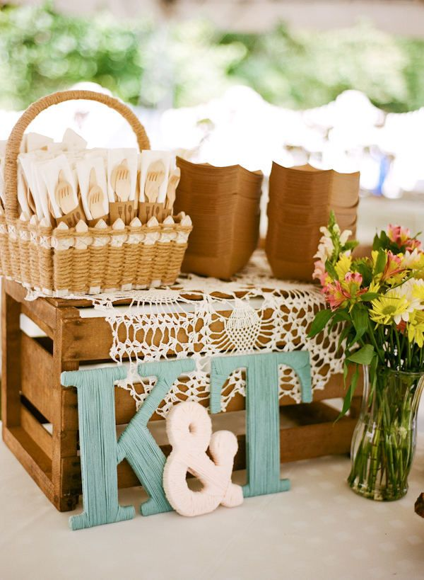 Tables ideas ~ silverware on table as practical decoration; flowers; letters