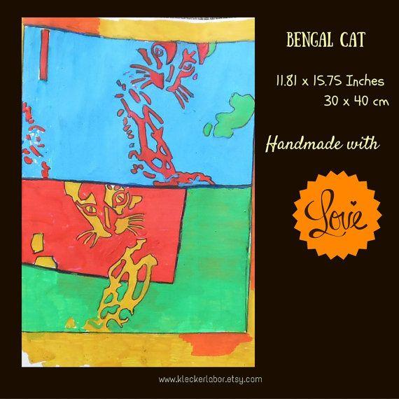 Pop Art illustration: Bengal Cats  30 x 40 cm | Shop this product here: spreesy.com/kleckerlabor_blog/75 | Shop all of our products at http://spreesy.com/kleckerlabor_blog    | Pinterest selling powered by Spreesy.com