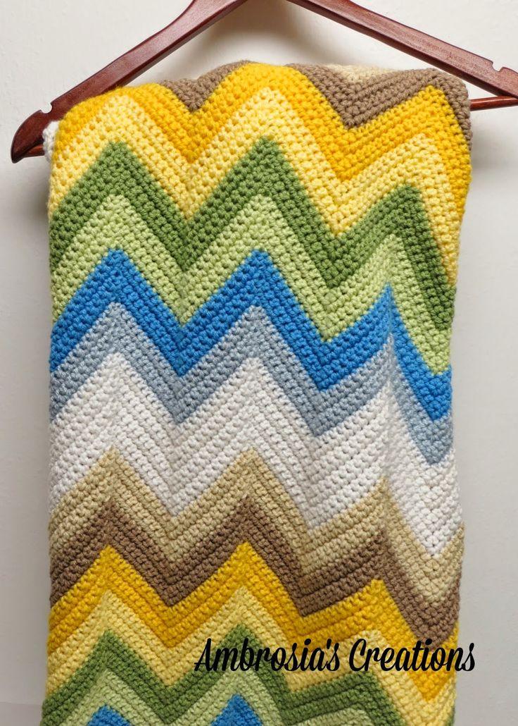 Ocean Waves Chevron Afghan By Amber - Free Crochet Pattern - (ambrosiascreations.blogspot)