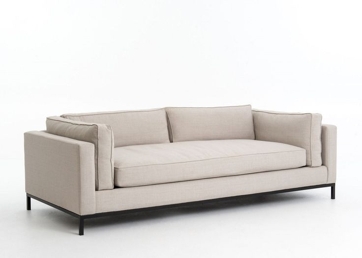 Beige linen sofa with single seat cushion temps ford for Single seats for living room