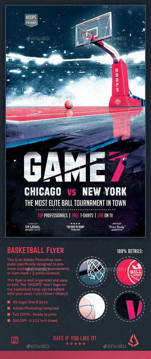 Basketball Flyer Game 7 Hoops Tournament 8 5x14 Design Template 3 On 3 3 Point Contest Aau Basketball A Sport Poster Design Flyer Basketball Posters