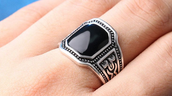 HIGH QUALITY FASHION MEN RING SILVER RING PUNK BLACK RING SIZE 9 CHRISTMAS GIFT #Ringly