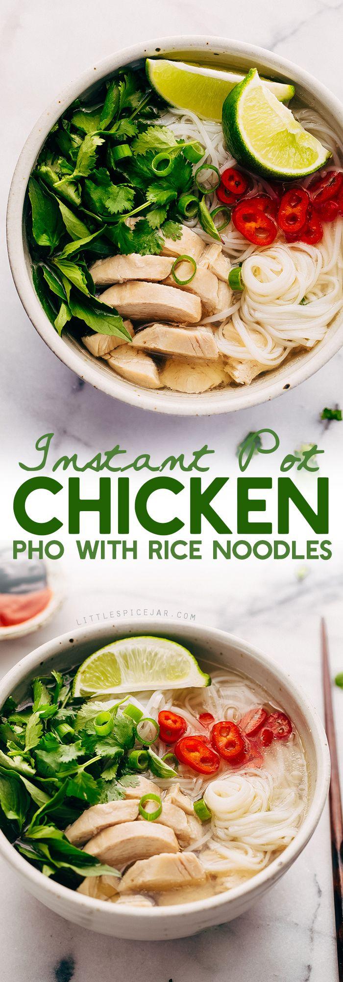 Instant Pot Chicken Pho Noodle Soup (Pho Ga).