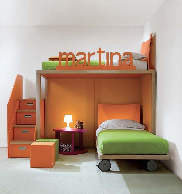 loft bed with their name made into the hand rail