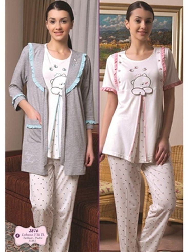 Bone 3816 Hamile Pijama Sabahlık Takım; Penye kumaştan üretilen hamile pijama sabahlık takım modelidir.