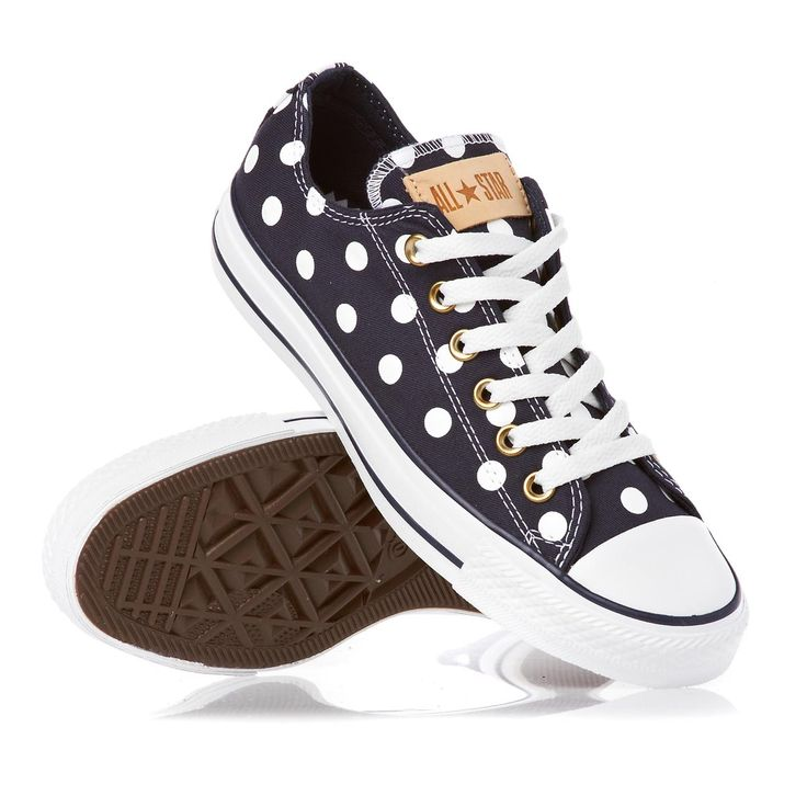 Converse Shoes - Converse All Star Bleach Polka Dot Shoes - Athletic Navy/White