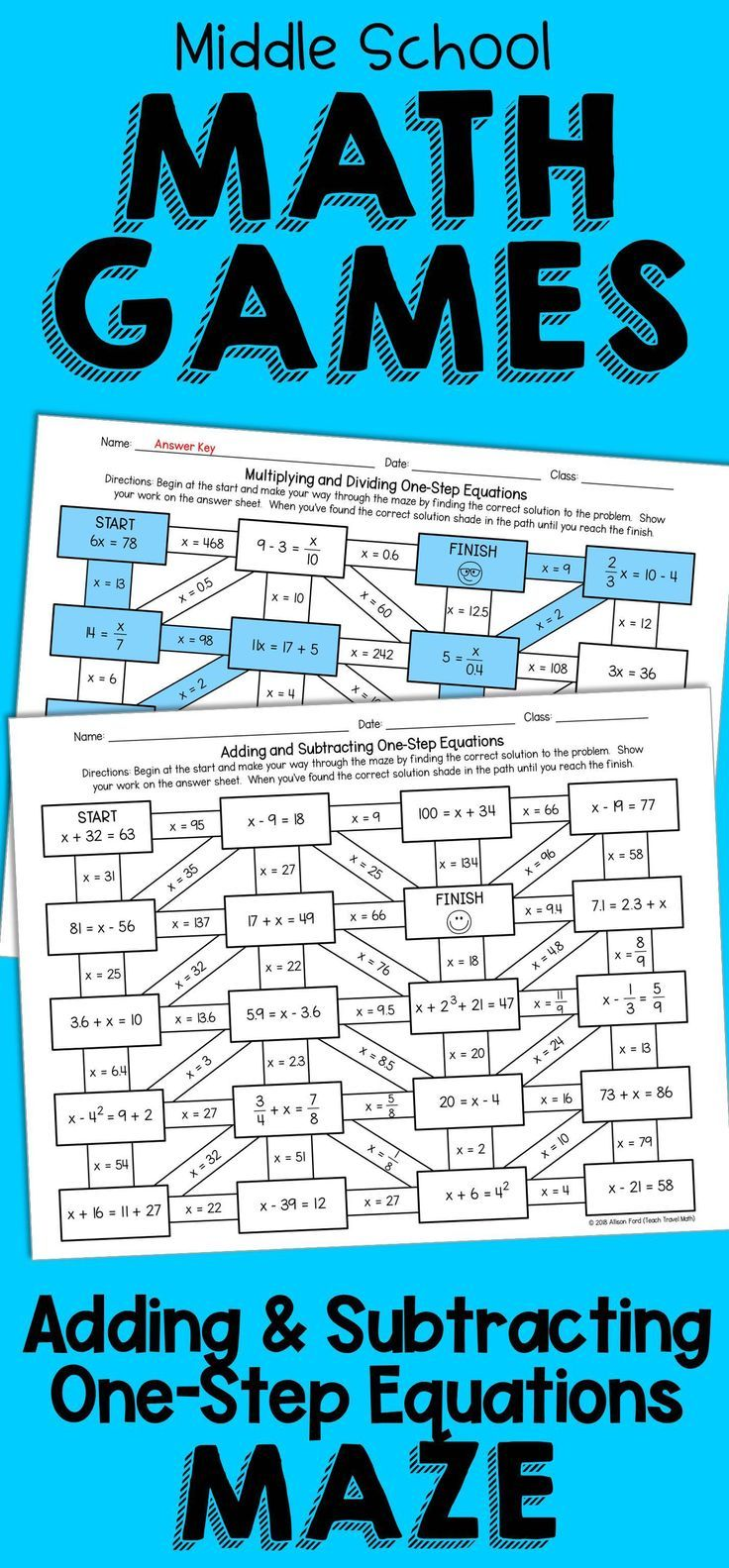 No Prep Worksheet Adding And Subtracting One Step Equations Middle School Math Games Maze Activity Math Games Middle School One Step Equations Math Games
