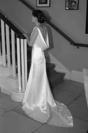 Cowl back slinky wedding dress