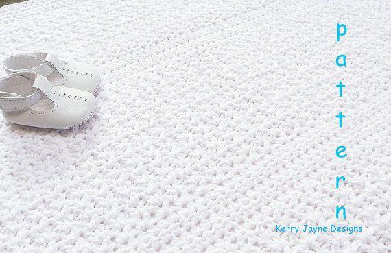 CROCHET BLANKET PATTERN 'Little White Blanket' by KerryJayneDesigns on Etsy