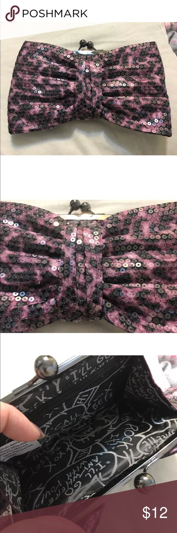 """Betsey Johnson Sequined Bow Leopard Clutch Purse Adorable! It very good condition! See pics for details. About 9-10"""" in length. Pre Owned with some light wear. Very nice inside. See pics! I have more BJ listed as well Betsey Johnson Bags Clutches & Wristlets"""