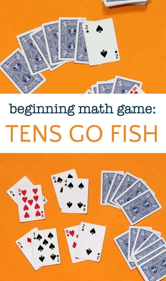 Easy Math Game Tens Go Fish In 2020 Math Card Games Easy Math Games Kindergarten Math Games