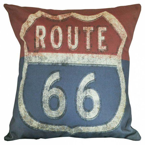 Throw Pillow Cover - Vintage Americana Route 66 Antique Document Burlap & Cotton Home Decor FL-14 on Etsy, $35.00