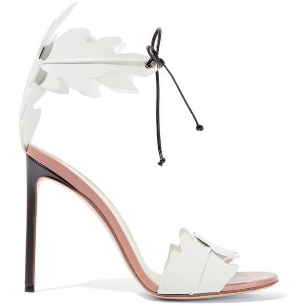 Francesco Russo Leather sandals (482.035 CLP) ❤ liked on Polyvore featuring shoes, sandals, heels, francesco russo, white, white shoes, white sandals, white high heel sandals, tie sandals and heels stilettos