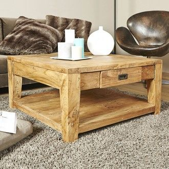 Table basse carrée TECK RECYCLE 80cmx80cm Garden and Co port offert 329€