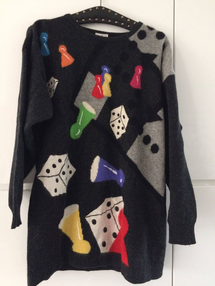 Vintage Betty Barclay lambswool sweater with dices and pawns, size L by MORETHANVINTAGENL on Etsy