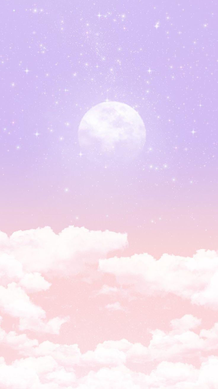 Cute Pastel Color Wallpaper 영롱 보름달 배경 구름 그림 구름 벽지 배경