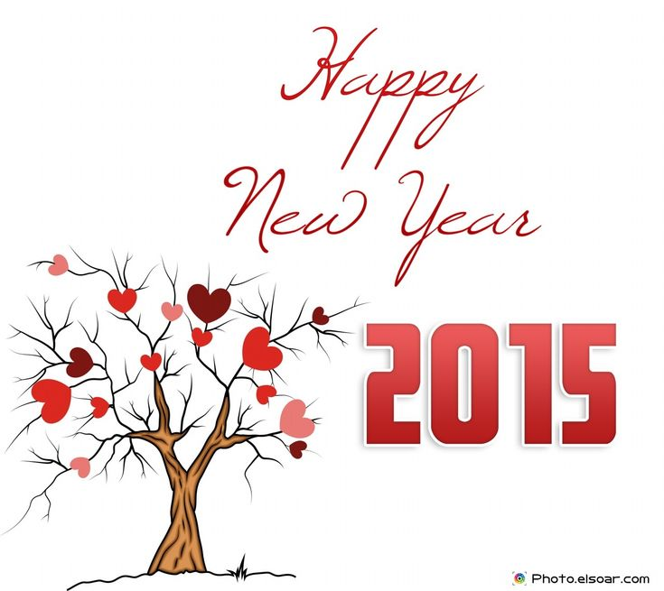 Happy New Year 2015 With Tree And Hearts